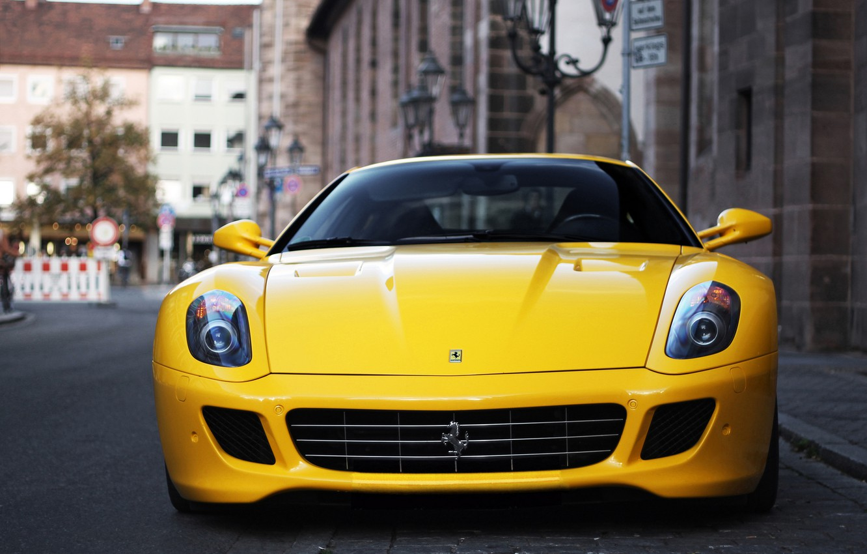Photo wallpaper yellow, the city, blur, Ferrari, Fiorano, supercar, Ferrari, GTB, 599, yellow, V12, bokeh, sportscar, Cut