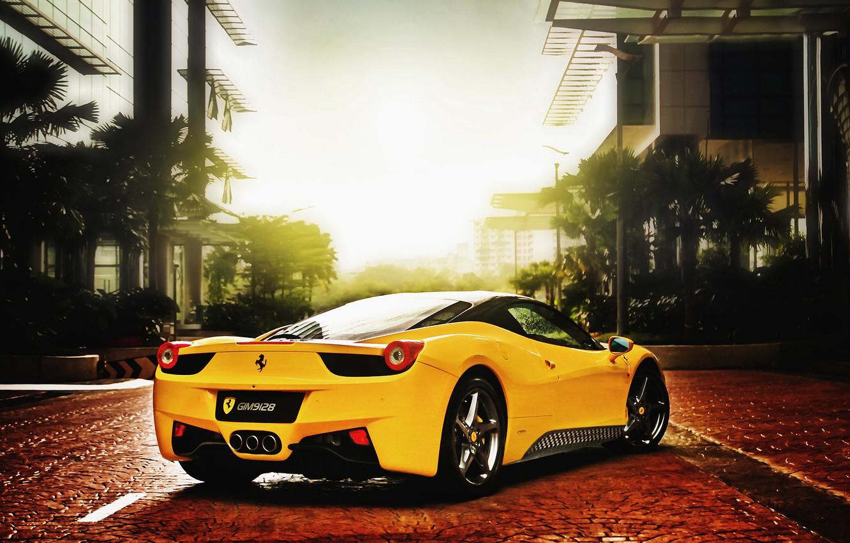 Photo wallpaper the sun, ferrari, Ferrari, 458, italia, yellow, Italy