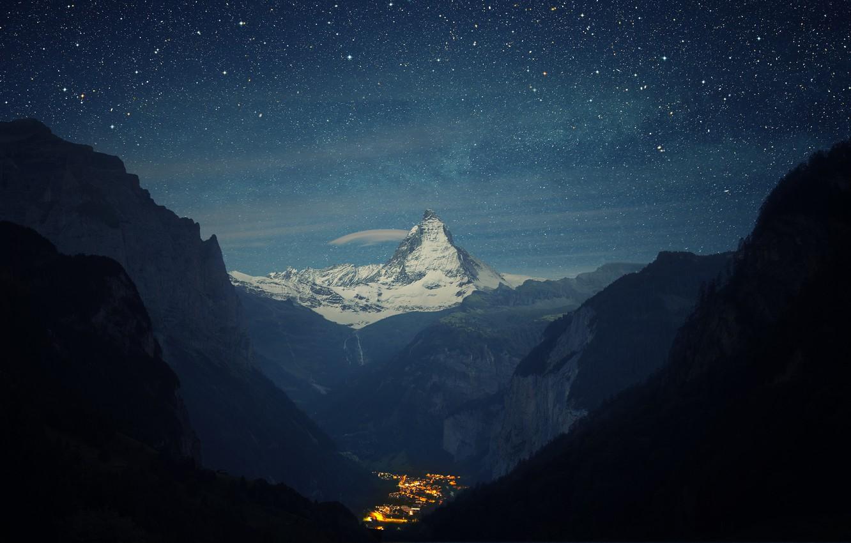 Photo wallpaper mountains, night, valley, town, Switzerland, Alps, Matterhorn, the Lauterbrunnen valley