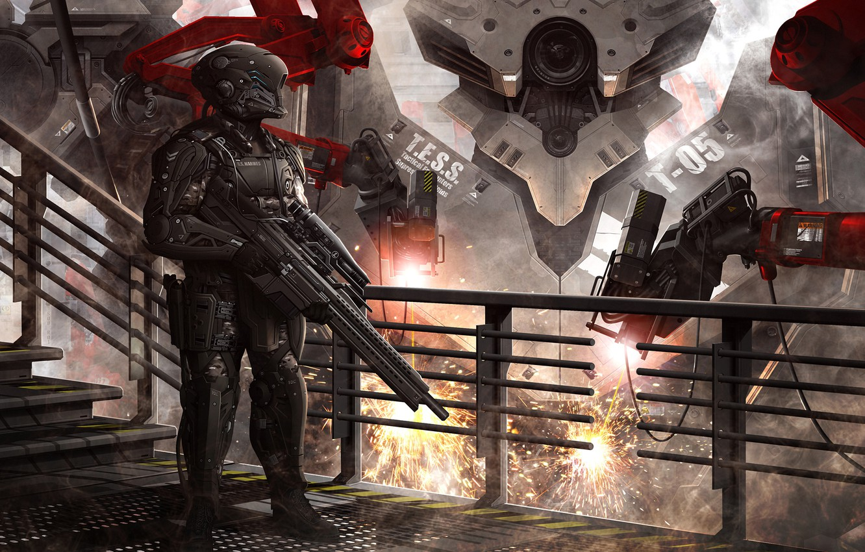 Photo wallpaper fiction, people, robot, soldiers, costume, helmet, armor, sniper rifle