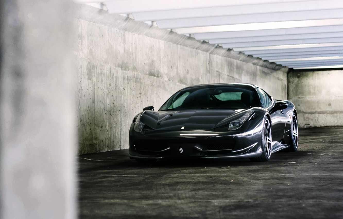 Photo wallpaper reflection, lamp, wall, black, Parking, ferrari, Ferrari, black, Italy, 458 italia