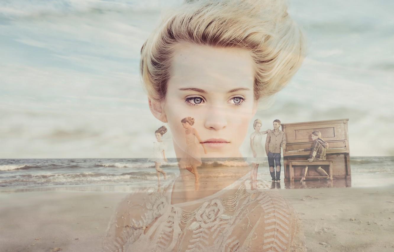 Photo wallpaper memories, portrait, girl, piano, Vintage Beach