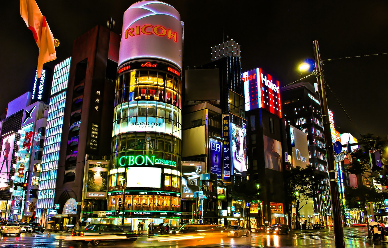 Photo wallpaper road, night, the city, lights, street, building, excerpt, Japan, Tokyo, crossroads, Tokyo, Japan, stores