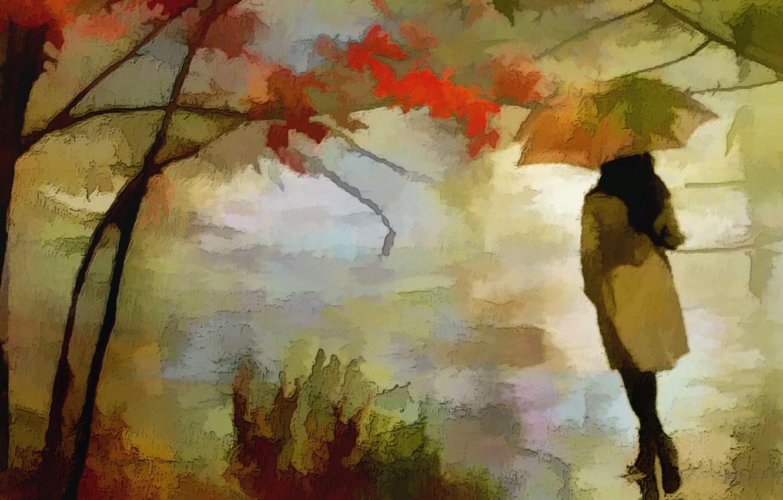 Photo wallpaper autumn, girl, texture
