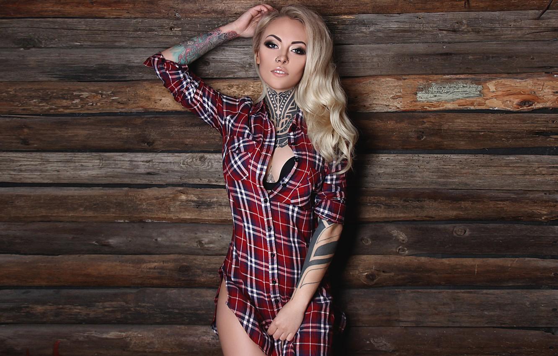 Photo wallpaper decoration, pose, wall, Board, makeup, figure, piercing, tattoo, hairstyle, blonde, shirt, beauty, sexy, body art, …