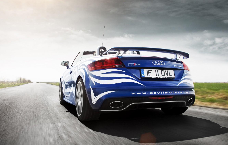 Photo wallpaper Audi, Clouds, Auto, Road, Tuning, Speed, Machine