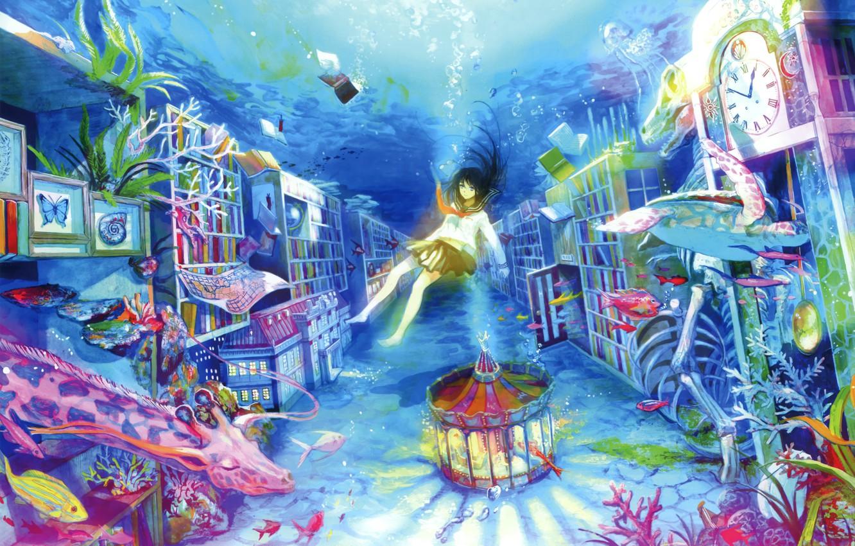Photo wallpaper water, fish, bubbles, books, sleep, corals, giraffe, girl, carousel, art, imagination, cabinets, sailor, fuzichoco (fujiwara)
