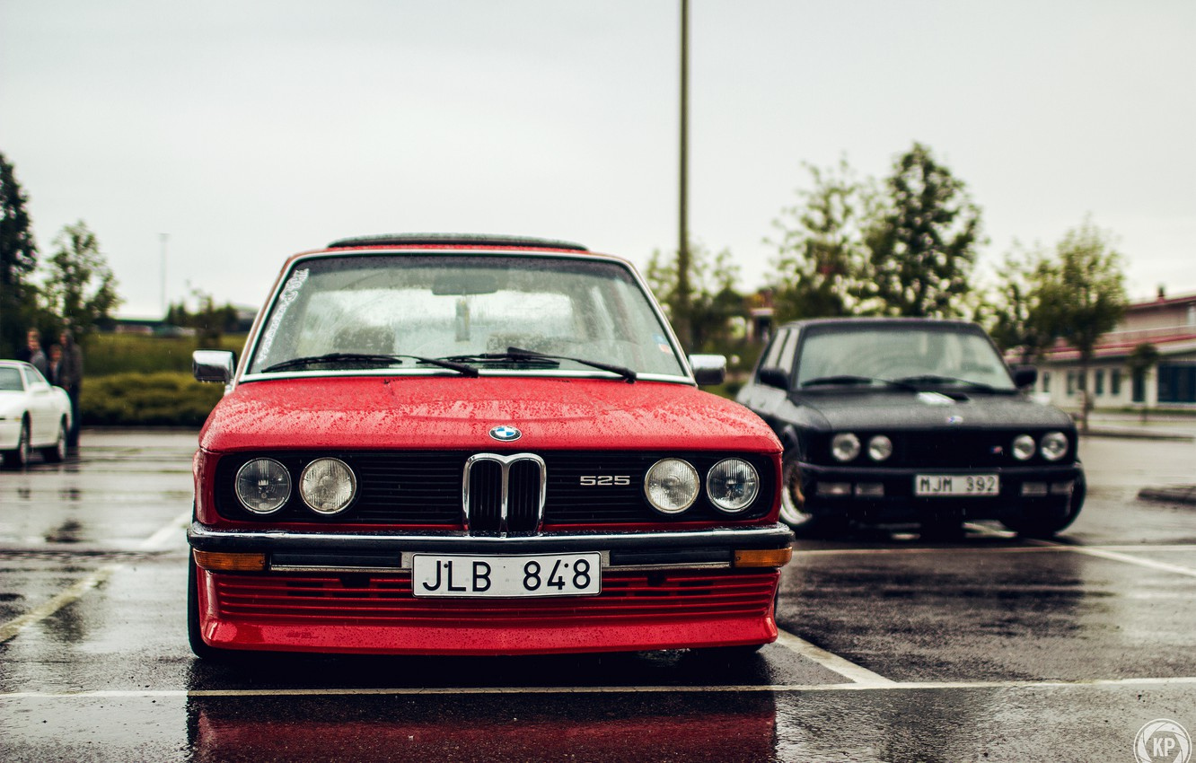 Photo wallpaper two, BMW, BMW, black, red, tuning, stance, 525
