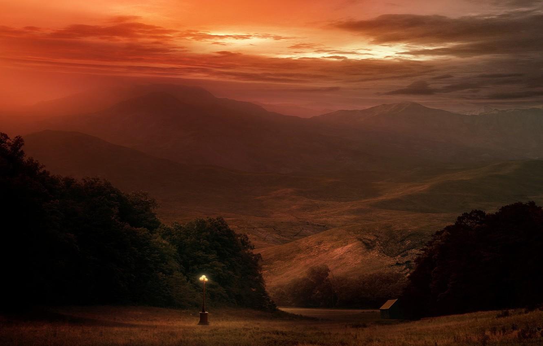 Photo wallpaper mountains, Lantern, strange