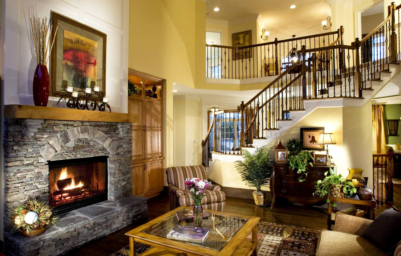 Photo wallpaper table, interior, plants, ladder, fireplace, cottage, mansion, living room