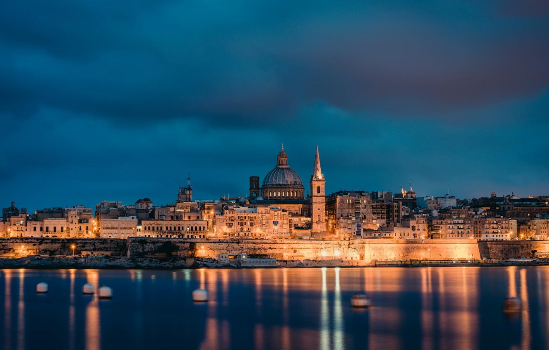 Photo wallpaper sea, the sky, clouds, lights, coast, the evening, lighting, architecture, capital, Malta, Malta, Valletta, Valletta
