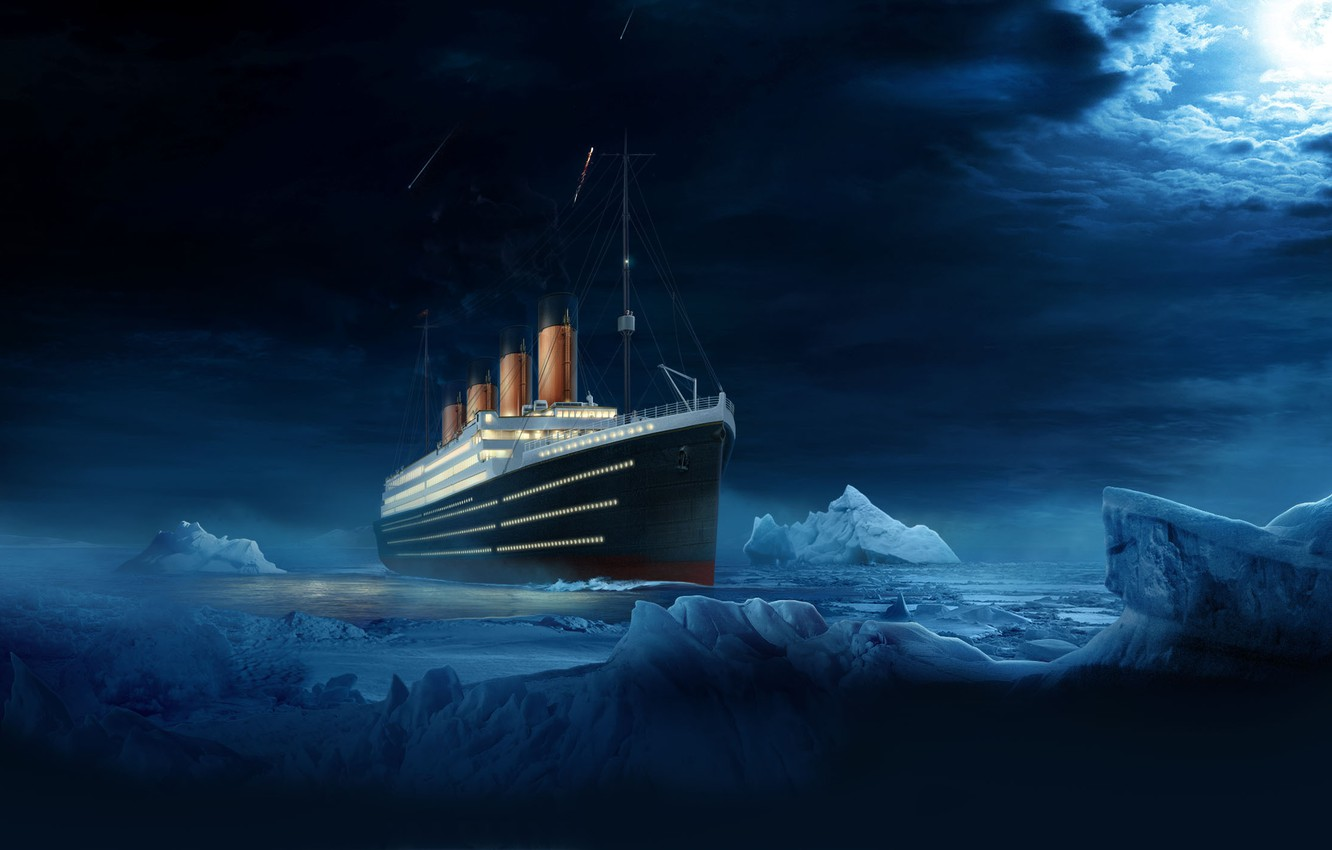 Photo wallpaper Water, Clouds, Night, Liner, Iceberg, Titanic, The ship, The end, Titanic