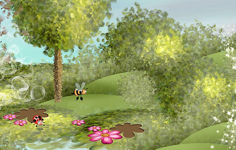 Photo wallpaper summer, flowers, mood, art, bee
