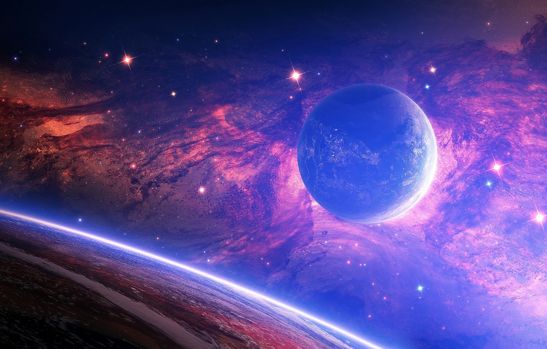 Photo wallpaper stars, nebula, space, planet