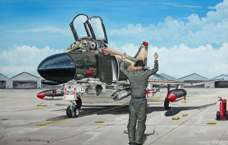 "Photo wallpaper field, figure, the airfield, F-4, pilots, multipurpose, fighter-interceptor, hangars, the aircraft, flight, ""Phantom"""