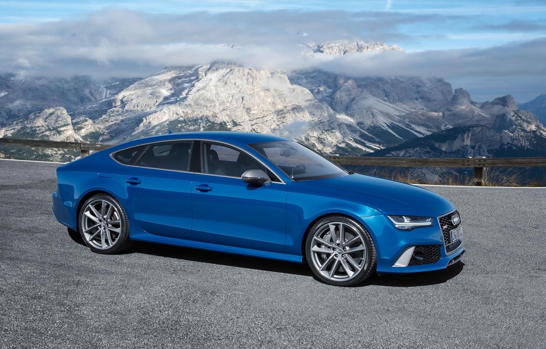 Photo wallpaper the sky, mountains, blue, background, Audi, Audi, Performance, Sportback, RS7