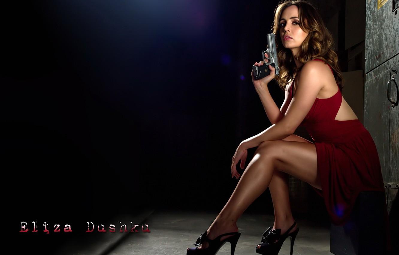Photo wallpaper girl, house, gun, actress, shoes, brown hair, legs, in red, Eliza Dushku, Eliza Dushku, Dollhouse, …