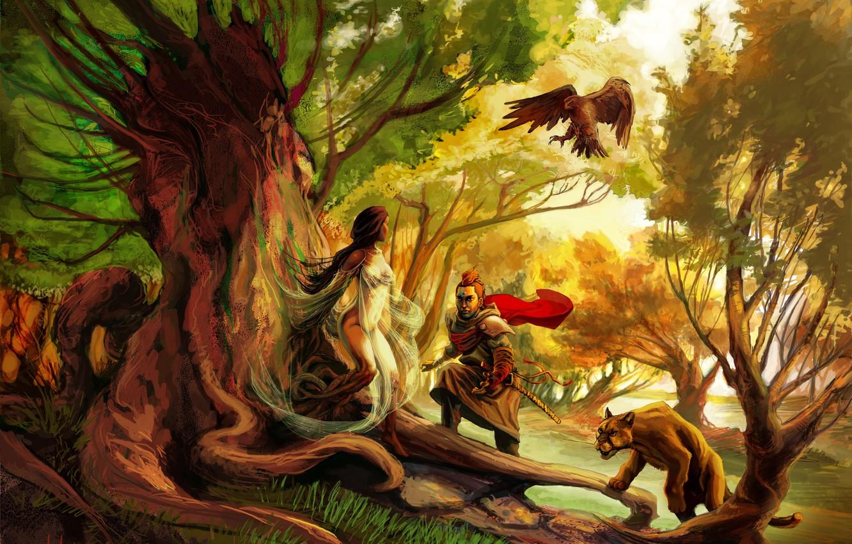 Photo wallpaper animals, tree, woman, hunter, Woman of Tree