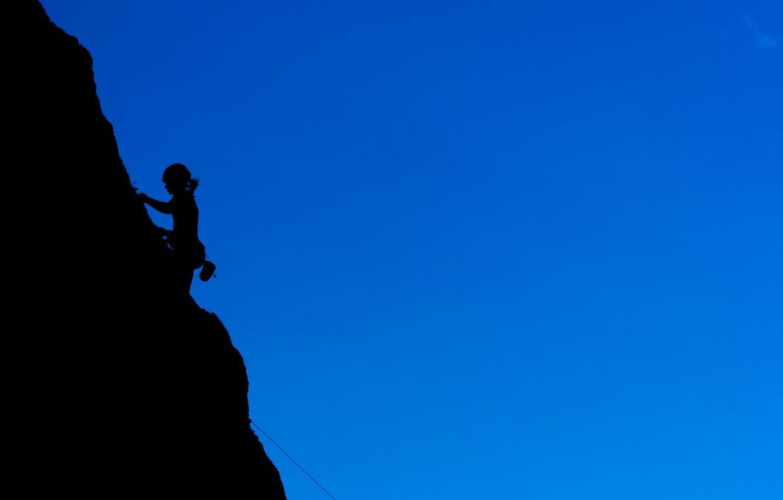 Photo wallpaper girl, rocks, shadow, climbing, Hiking, Montaineering