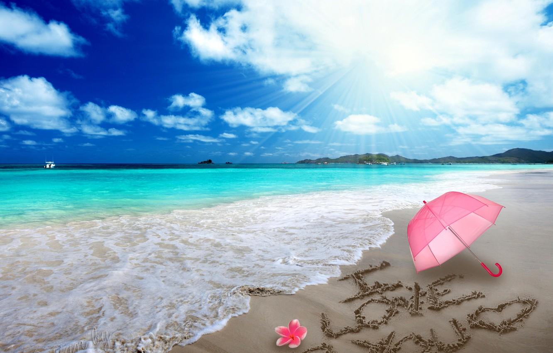 Photo wallpaper sand, beach, love, romance, heart, figure, love, beach, sea, i love you, umbrella, romantic, sand, …
