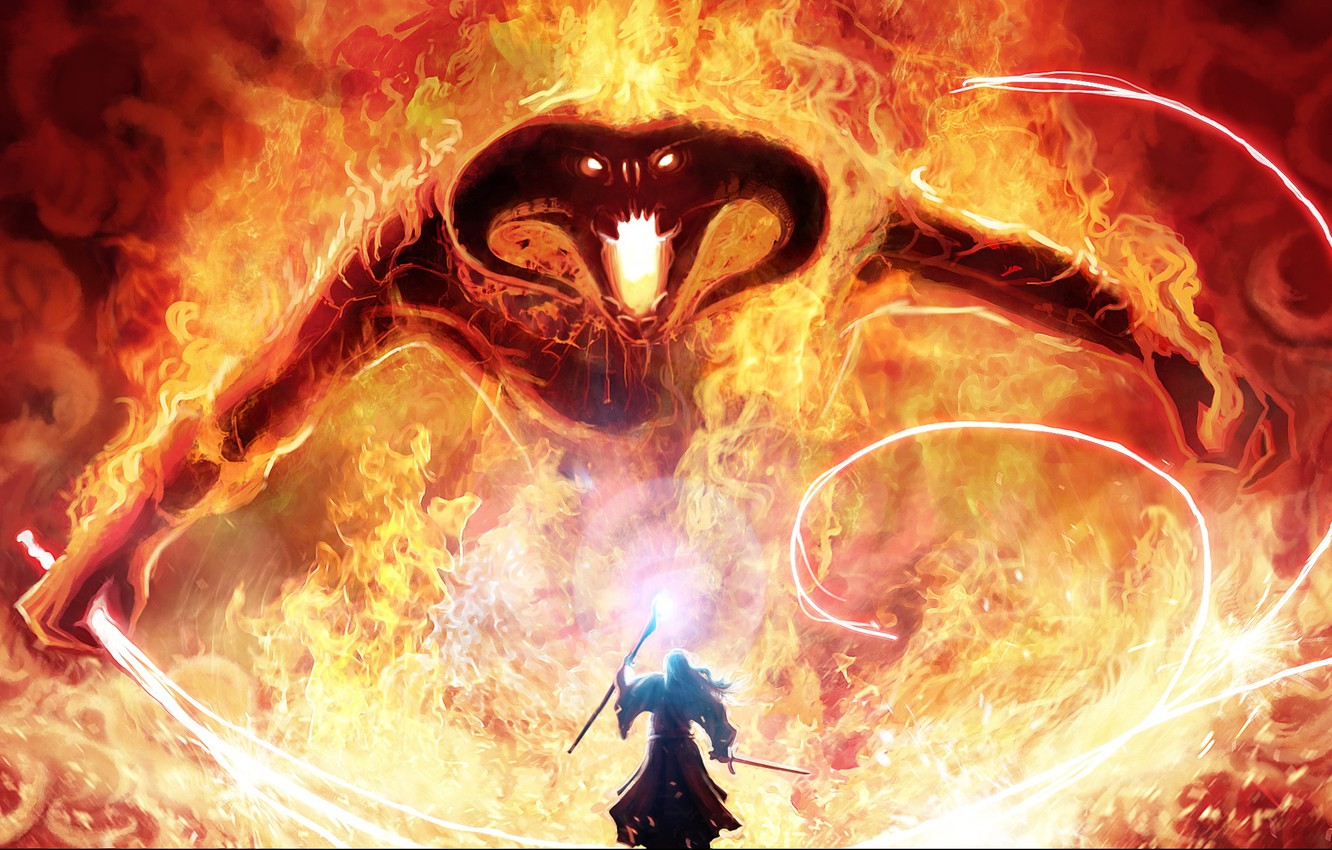 Photo wallpaper magic, monster, sword, the Lord of the rings, art, MAG, staff, Balrog, Gandalf, whip, the …