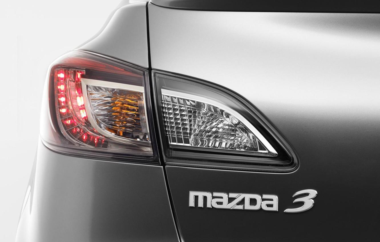Photo wallpaper macro, headlight, silver, sedan, mazda