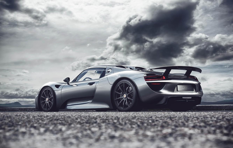 Photo wallpaper Porsche, silver, Porsche, Spyder, 918, rear, silvery, Fernandez World Photography