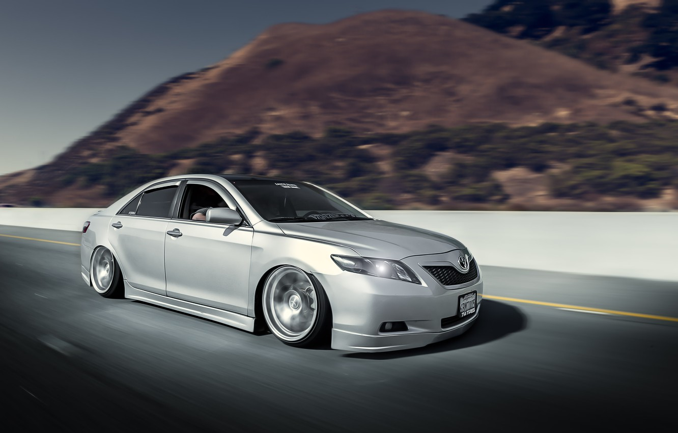 Photo wallpaper road, speed, silver, Toyota, sedan, Toyota, in motion, Camry, Camry