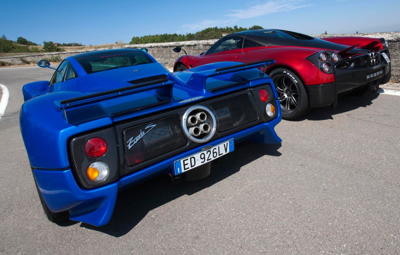 Photo wallpaper the sky, blue, red, Pagani, rear view, Zonda, supercars, Pagani, Probe, To huayr, Wire