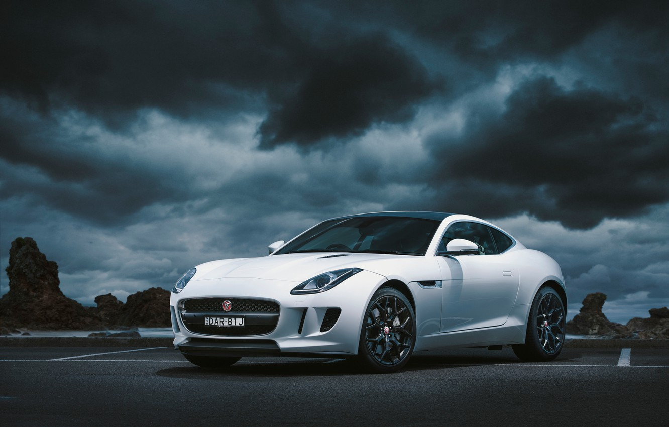 Photo wallpaper clouds, Jaguar, Coupе, F-Type