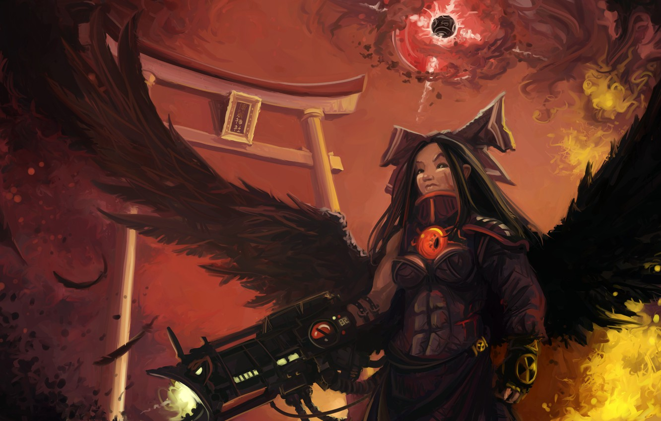 Photo wallpaper girl, weapons, wings, feathers, art, Hell, Raven, raven