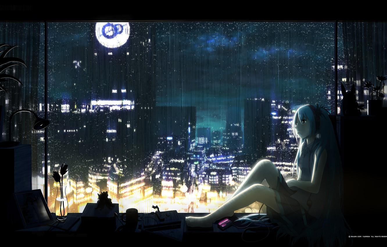 Photo wallpaper flower, night, rain, headphones, sill, vocaloid, hatsune miku, Vocaloid, blue hair