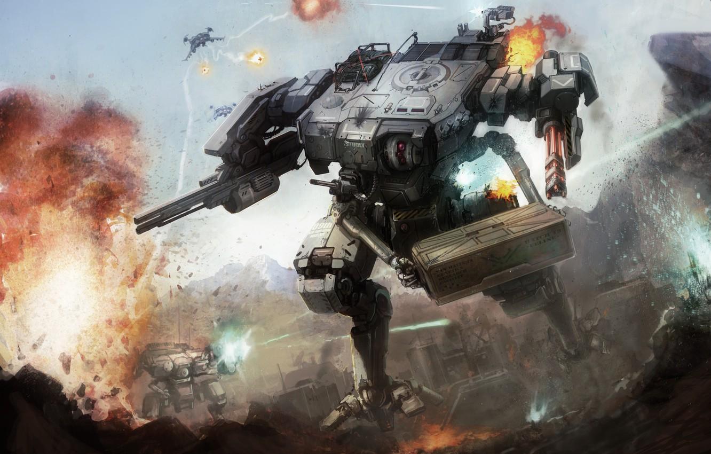 Photo wallpaper fire, war, robot, explosions, gun, box, combat, shagatel
