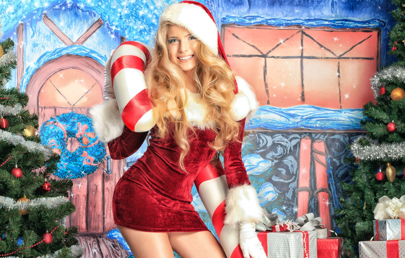 Photo wallpaper decoration, holiday, blonde, gifts, New year, maiden, caramel, celebration, New year, pretty girl