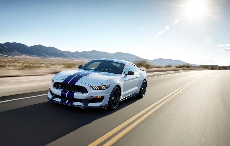 Photo wallpaper movement, desert, speed, track, Mustang, Shelby, GT350