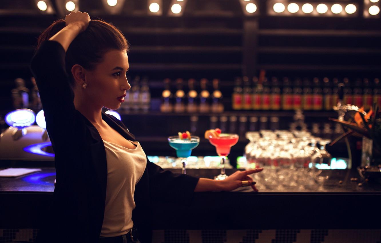 Photo wallpaper girl, drinks, stand, Ivan Gorokhov, BAR, at the bar