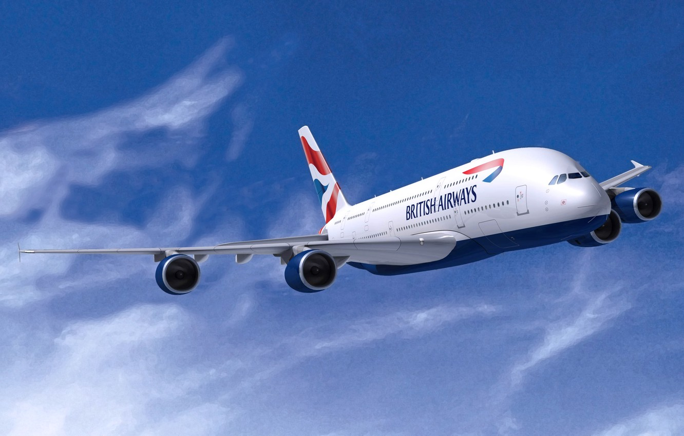 Photo wallpaper White, The plane, Wings, Aviation, A380, Airbus, In The Air, Flies, Airliner, British Airways