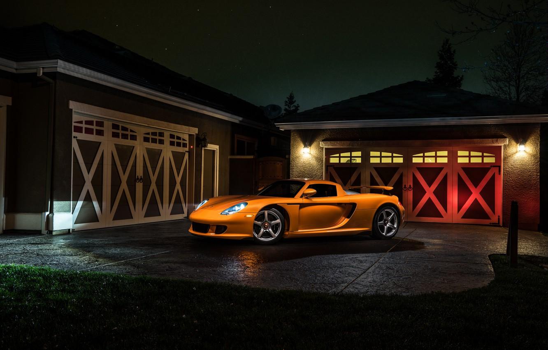 Photo wallpaper Porsche, Orange, Front, Carrera, Supercar, Exotic, Borealis, Ligth, Nigth, Arancio