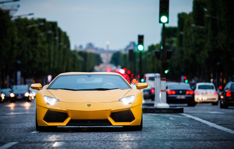 Photo wallpaper Lamborghini, Paris, yellow, aventador