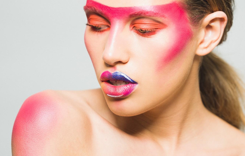 Photo wallpaper girl, face, style, color, makeup, lipstick, lips, paint