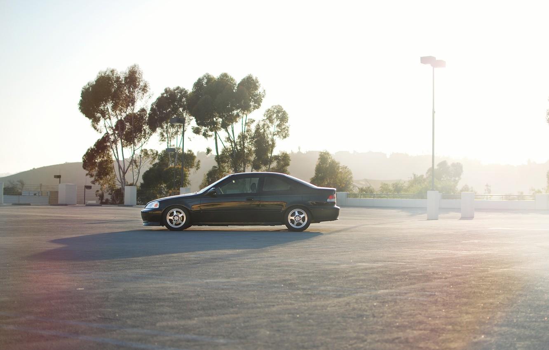 Photo wallpaper car, honda, black, civic