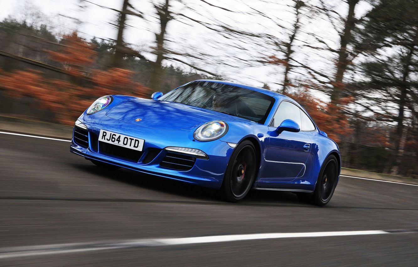 Photo wallpaper road, auto, lights, speed, 911, Porsche, Coupe, the front, Carrera 4 GTS