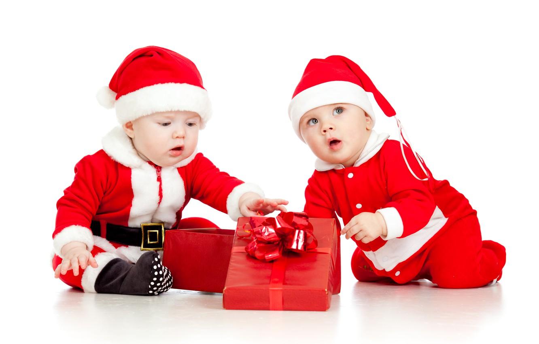 Photo wallpaper children, child, Christmas, New year, christmas, new year, child, children, gift boxes, gift box, Santa …