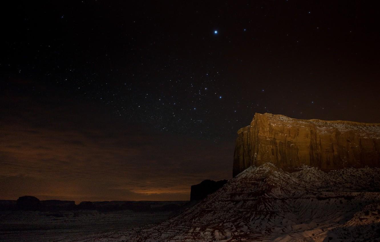 Photo wallpaper stars, night, rock, desert, canyon
