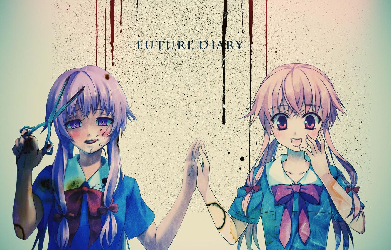Photo wallpaper girl, blood, long hair, scissors, Mirai Nikki, Gasai Yuno