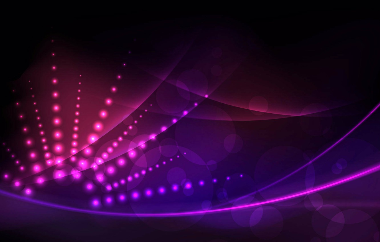 Photo wallpaper the sun, rays, line, circles, abstraction, lights, pink, beautiful, black background, fioletovye