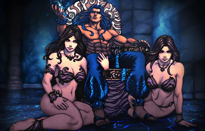 Photo wallpaper ass, chest, girls, body, anime, art, male, the throne, harem