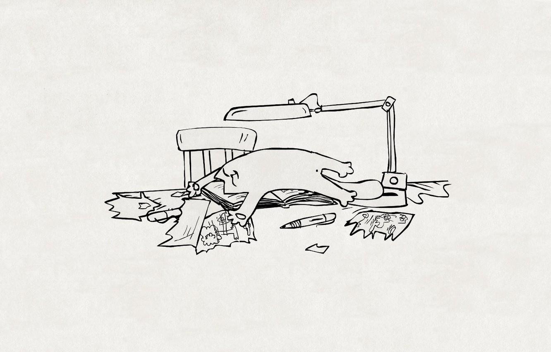 Photo wallpaper cat, paper, table, figure, lamp, chair, handle, lies, pieces, Kote, simon's cat