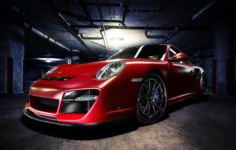 Photo wallpaper red, 911, Porsche, Parking, red, Porsche, front, Turbo