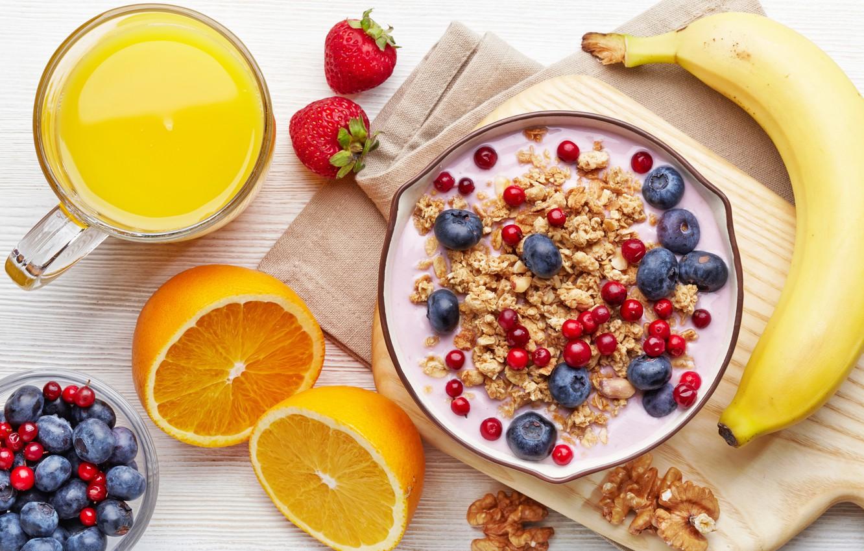 Photo wallpaper orange, milk, blueberries, strawberry, juice, Cup, juice, fruit, banana, currants, cup, fruit, orange, banana, strawberry, …